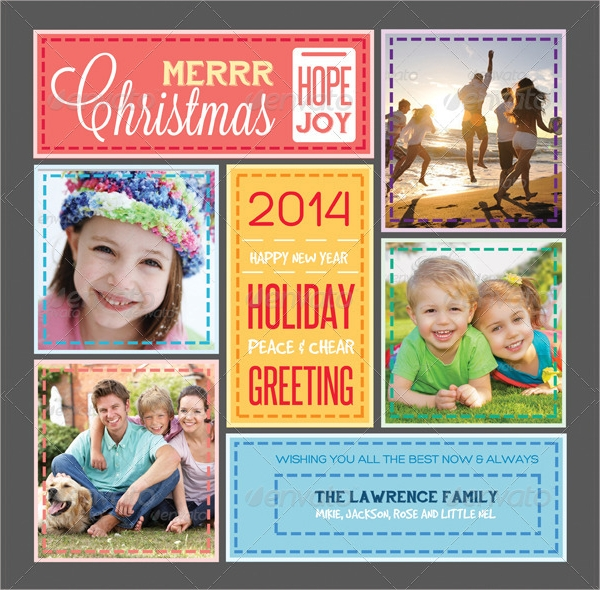 stitched love holiday greeting photo collage card