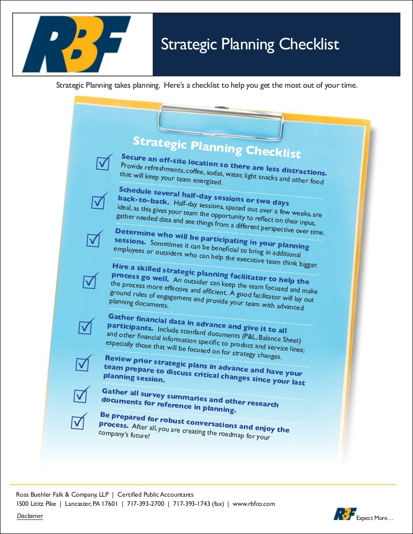 strategic planning checklist example