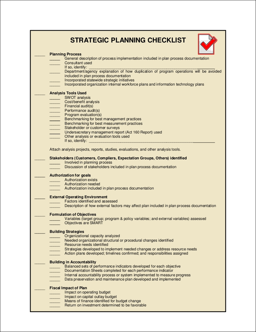 strategic planning checklist sample