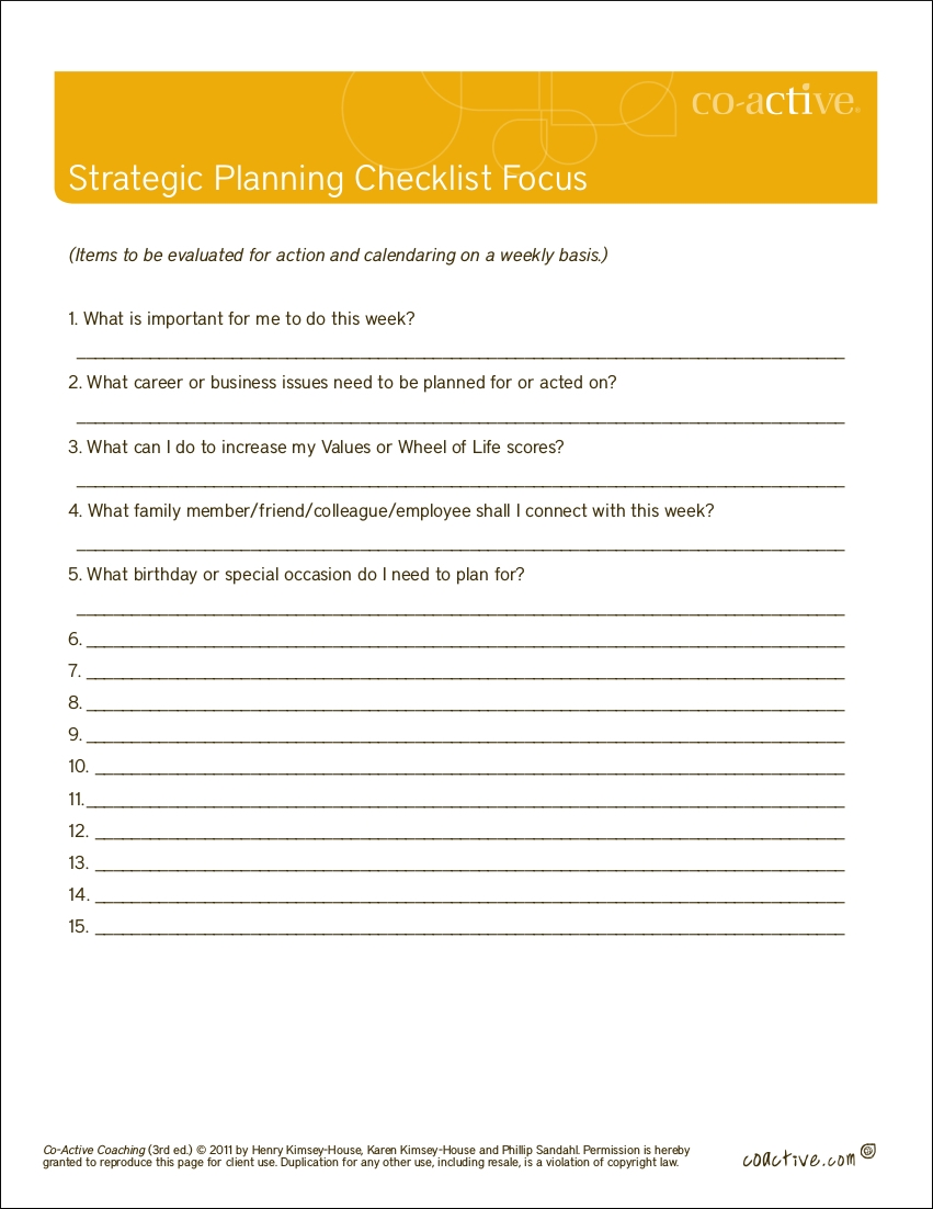 strategic planning checklist in pdf