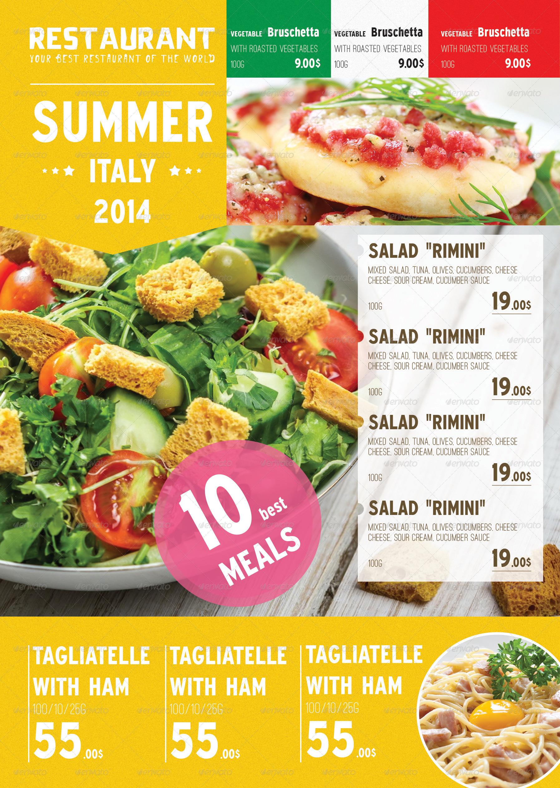 summer italian menu template
