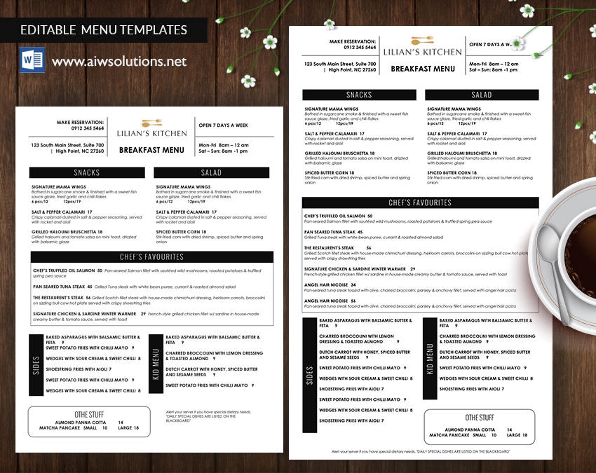 table tents bar takeout menu