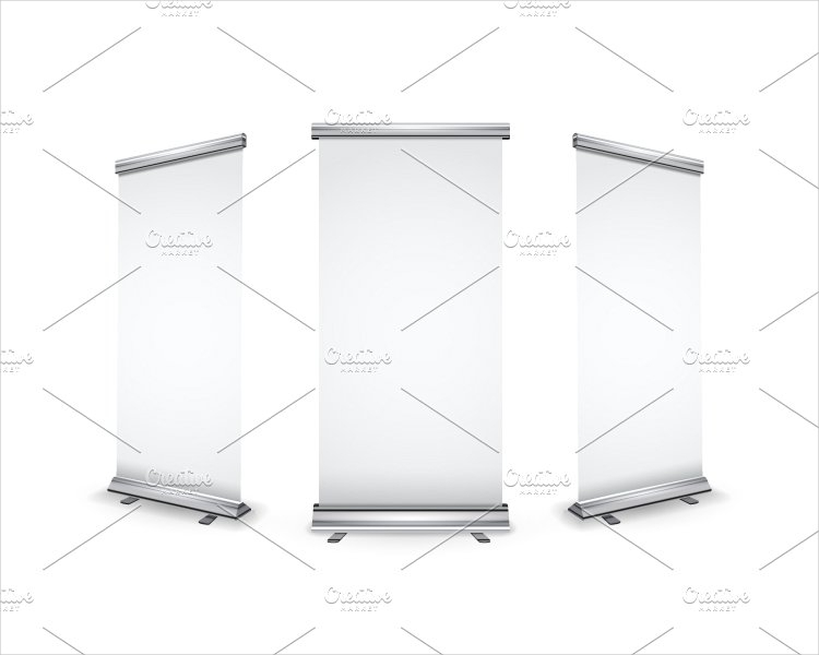 three blank pop up banners