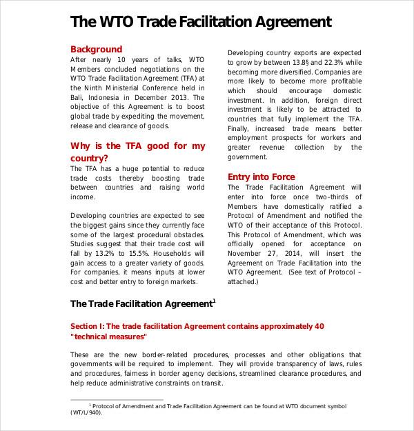 trade facilitation agreement