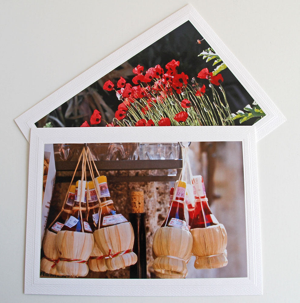 tuscan chianti bottles photo greeting card