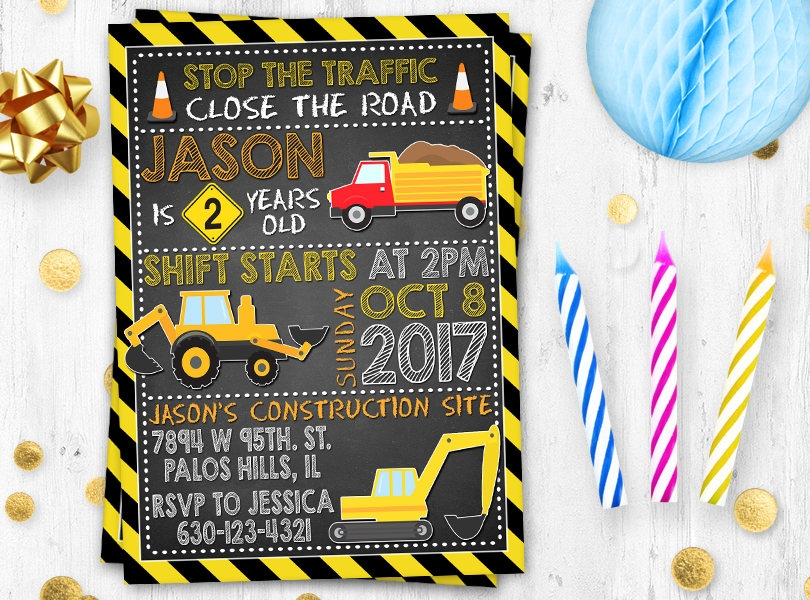 under construction party invitation
