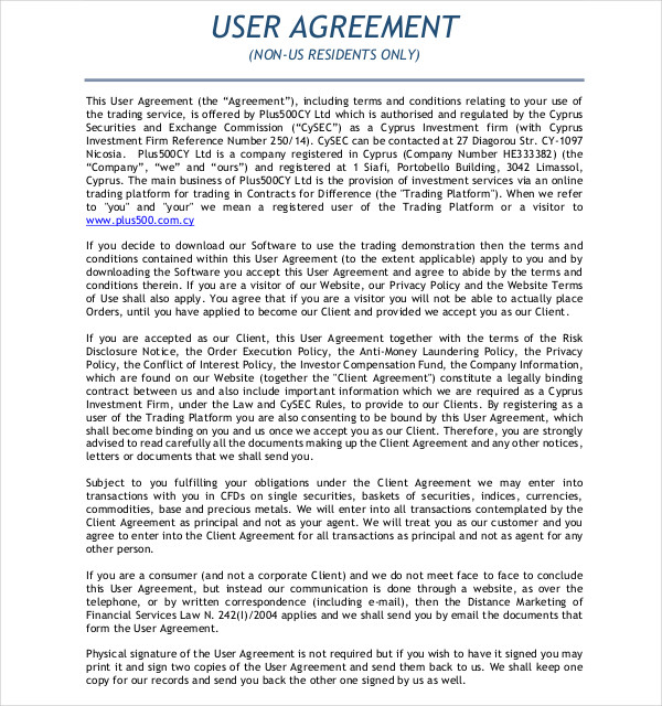 user agreements example