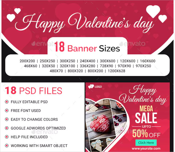 valentine's day banner in psd
