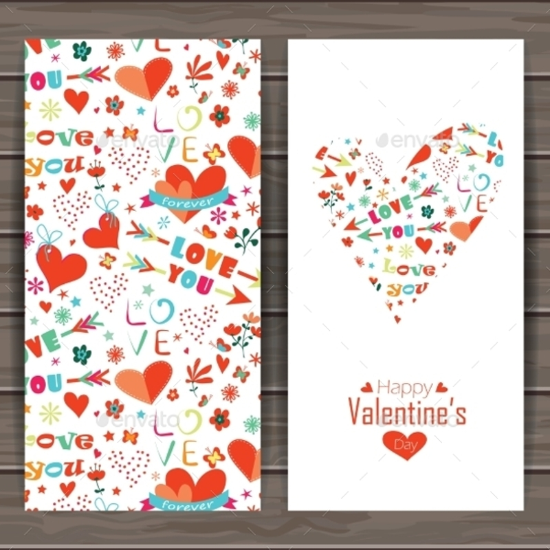 valentines day greeting cards with vectors