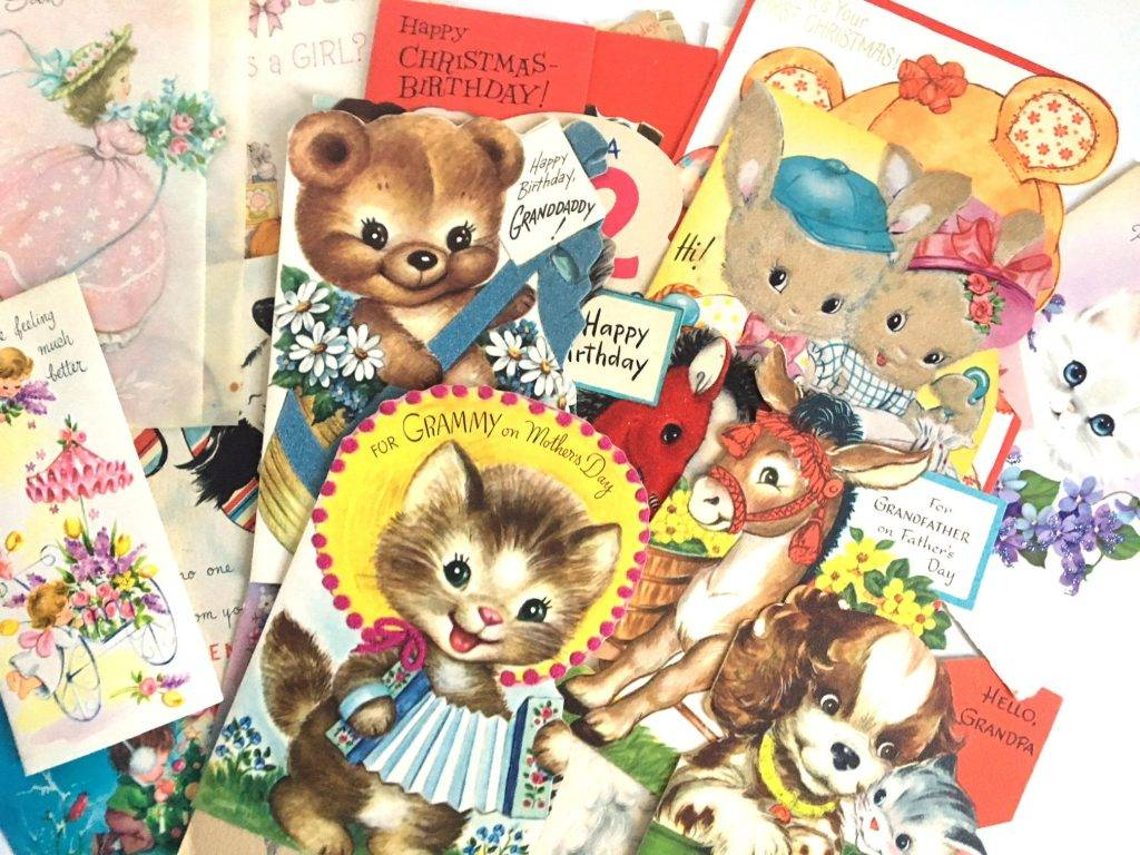 variety of vintage greeting card