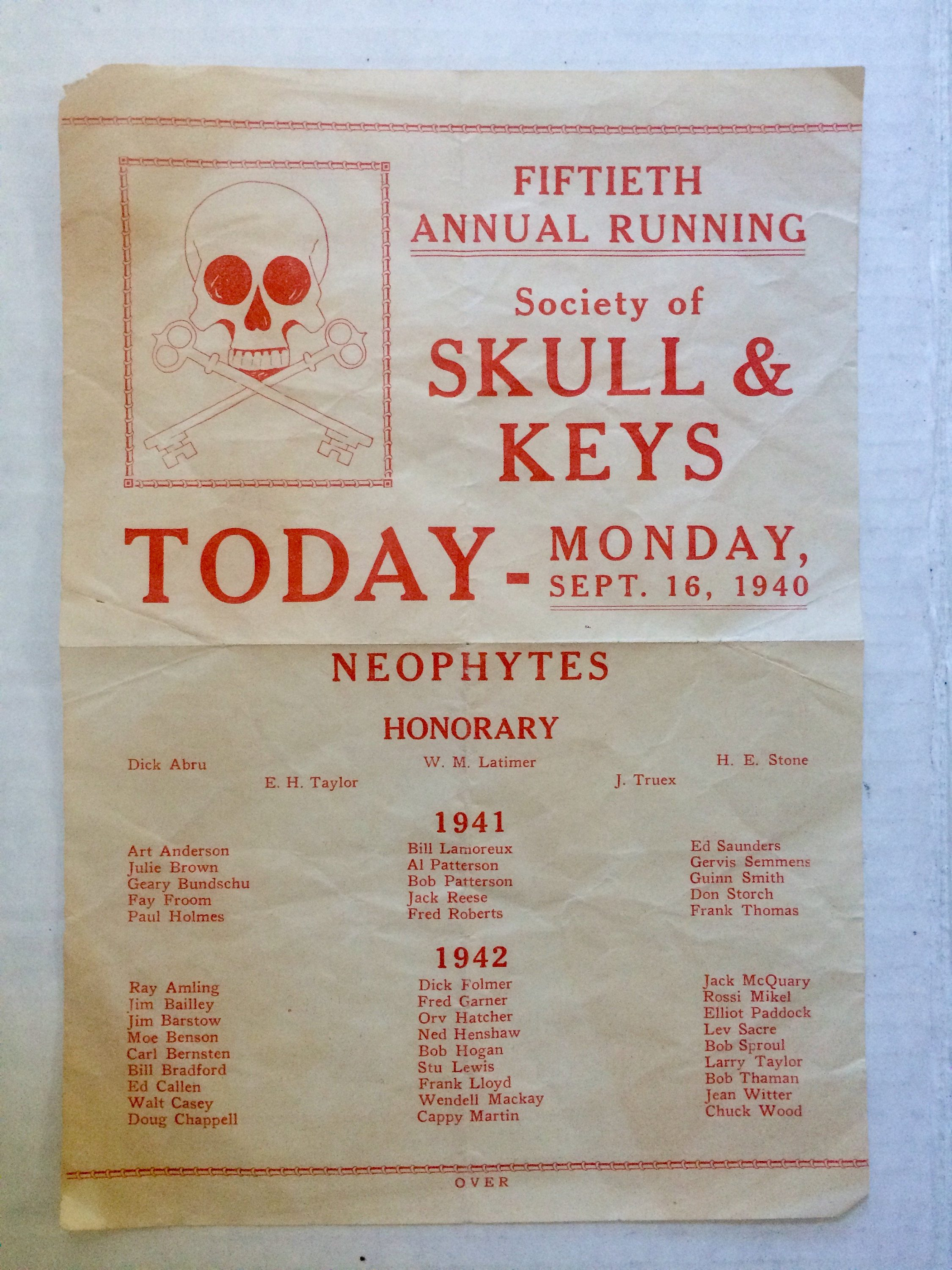 vintage 1940 skull and keys society flyer
