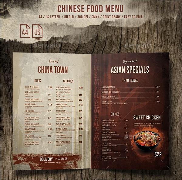 vintage chinese food menu