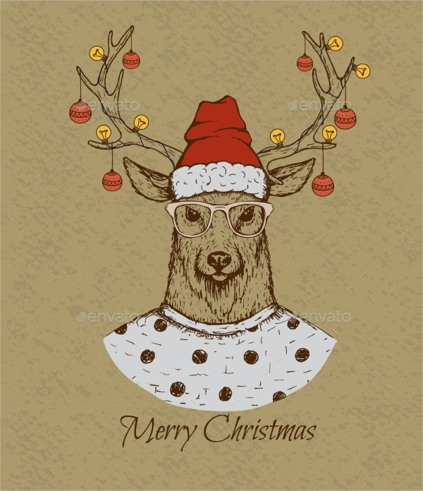 vintage greeting card with deer