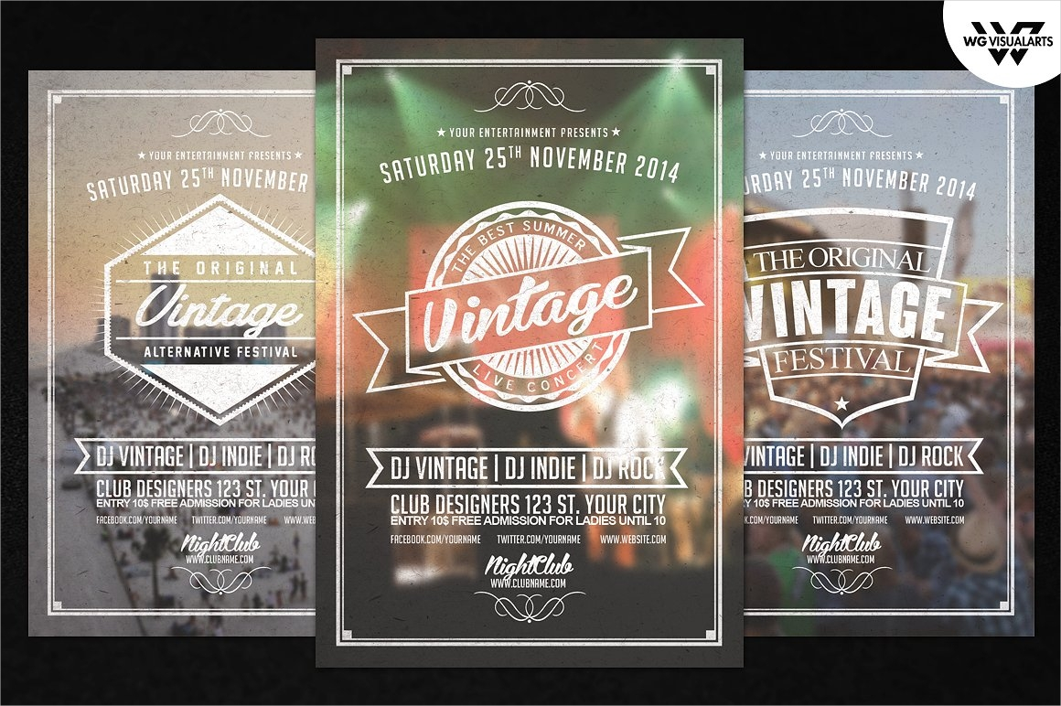vintage retro flyer template