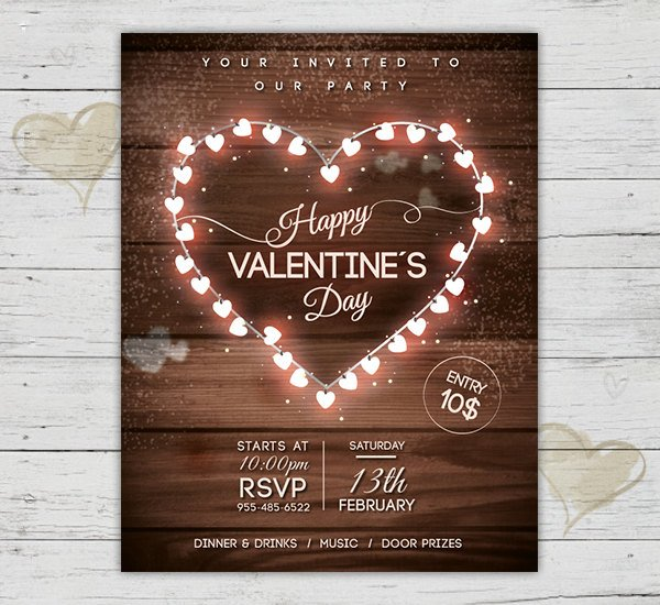 vintage wood happy valentines flyer