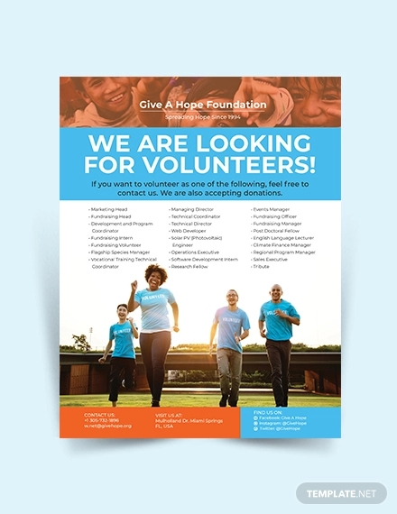 volunteer charity flyer
