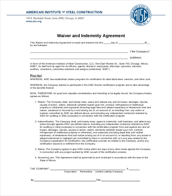 waiver indemnity agreement