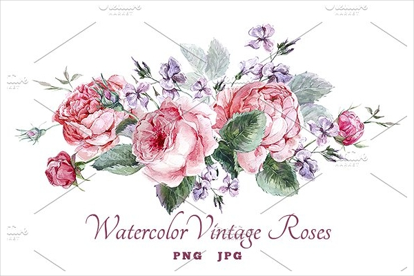 watercolor vintage roses greeting cards