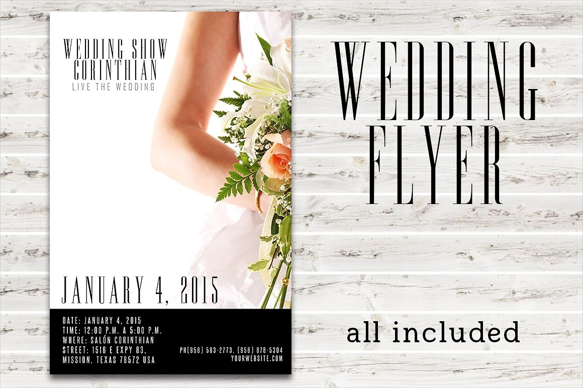 white wedding flyer template