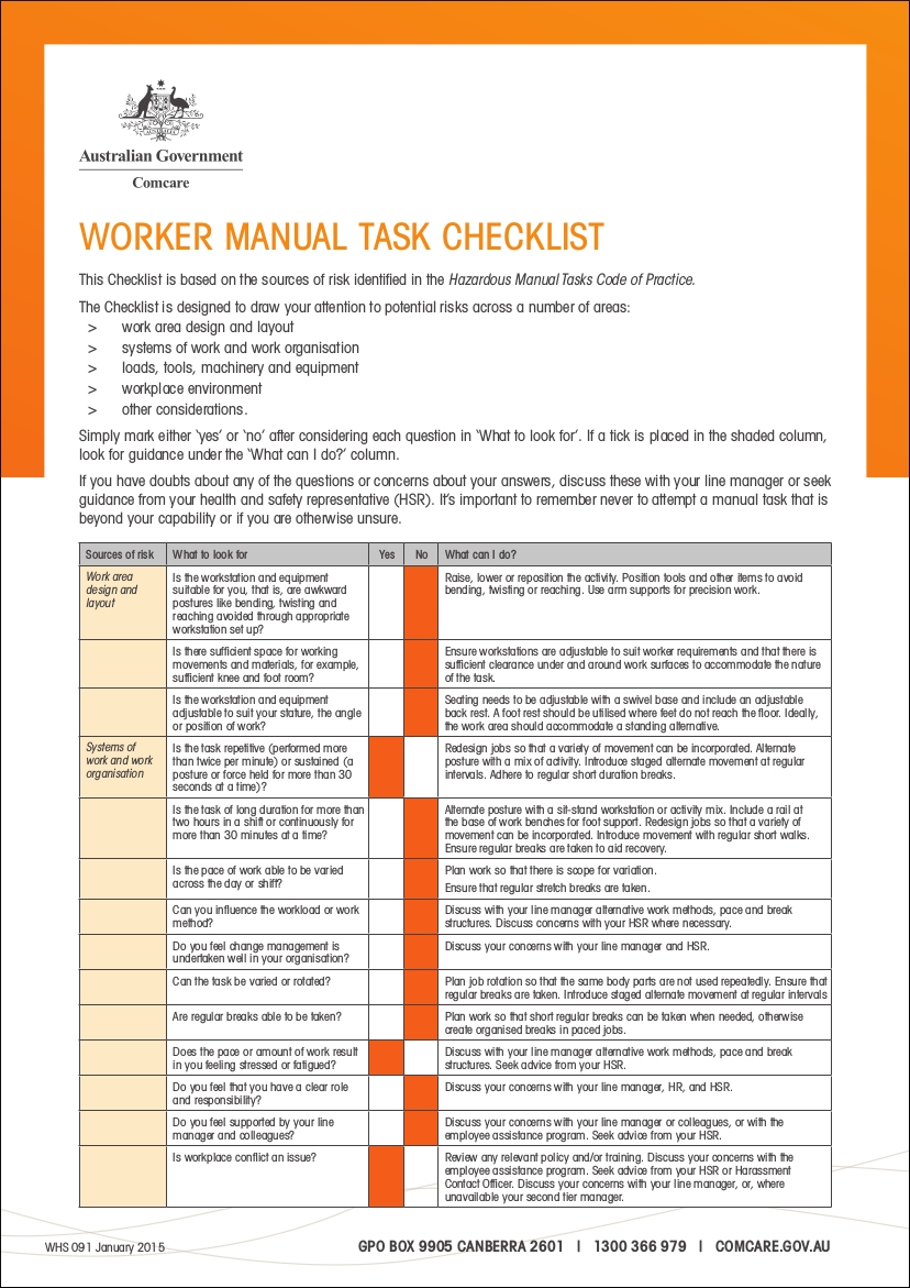 worker manual task checklist sample