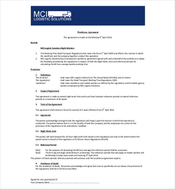 workforce agreement