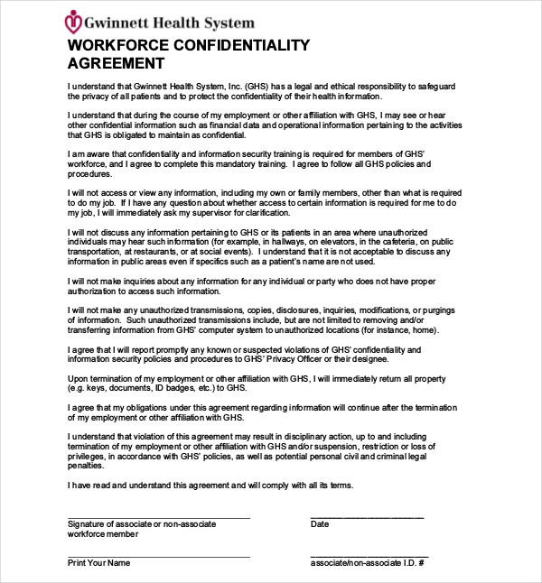 workforce confidentiality agreement
