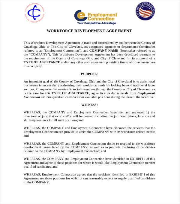 workforce development agreement