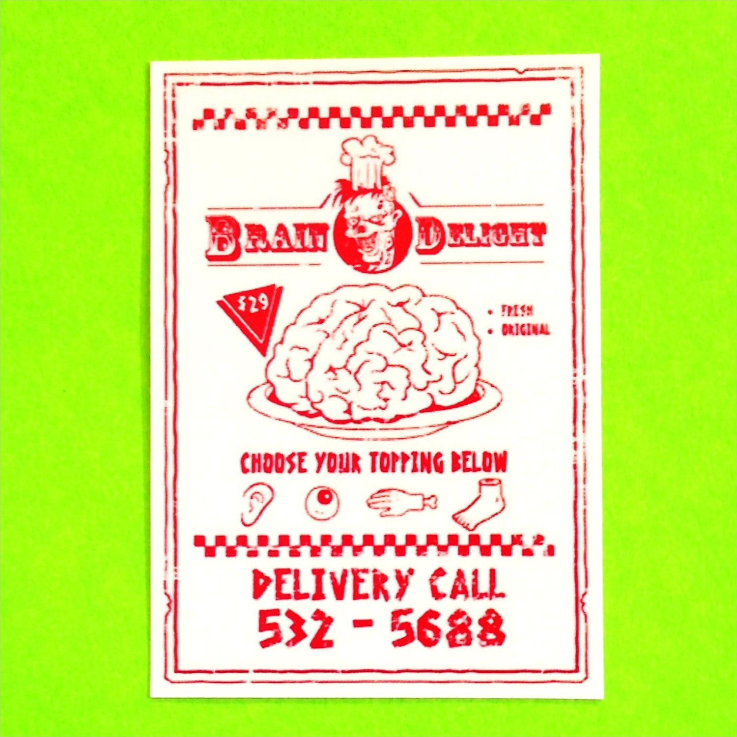 zombie pizza delivery takeout menu halloween monster italian special