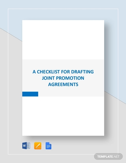 checklist drafting for joint promotion agreement