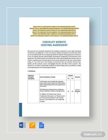 cheklist website hosting agreement