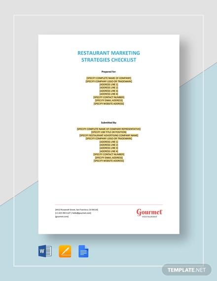 restaurant marketing strategies checklist