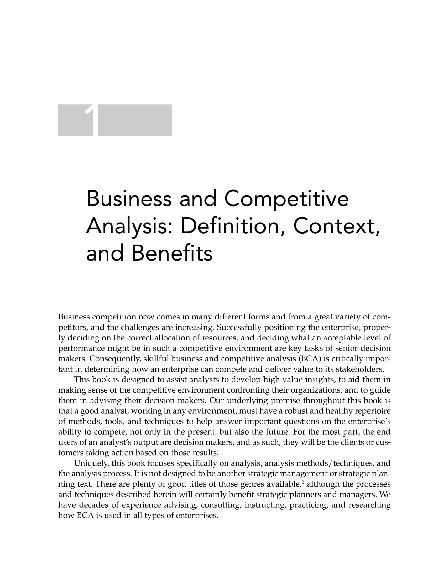 Business And Competitive Analysis Example
