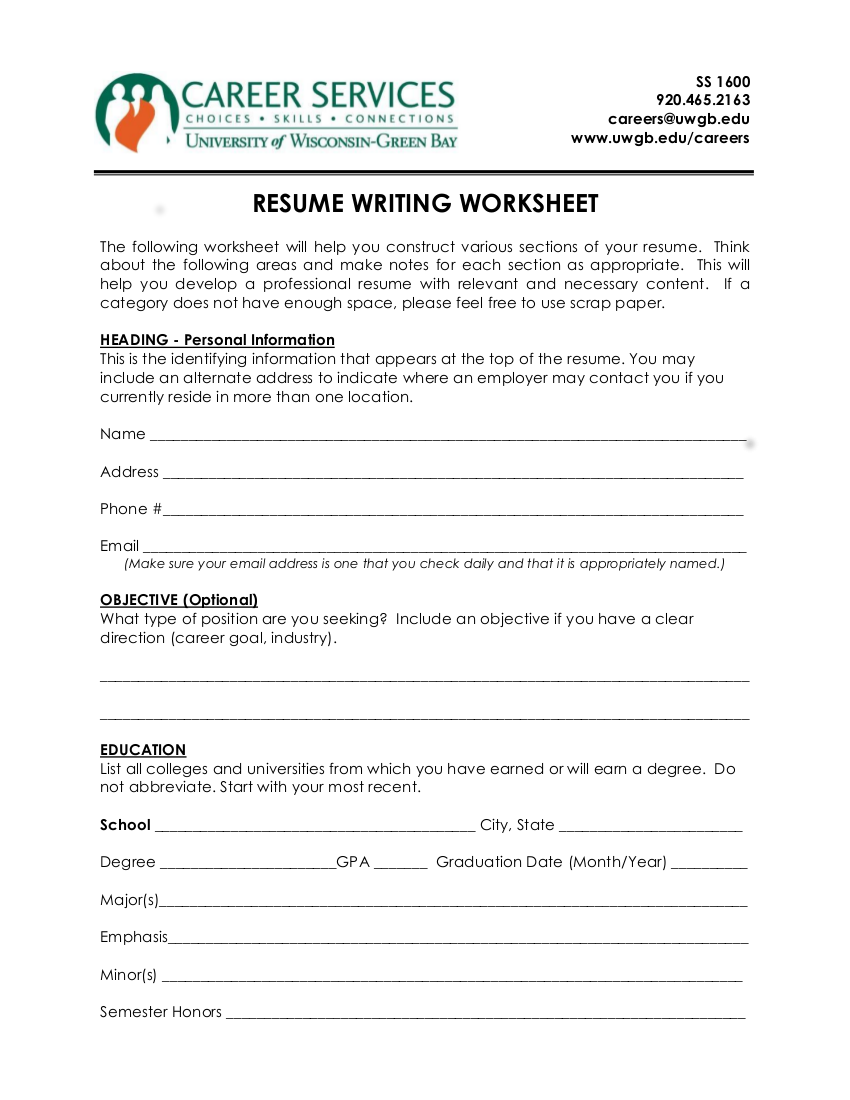 resume worksheets - Madran kaptanband co