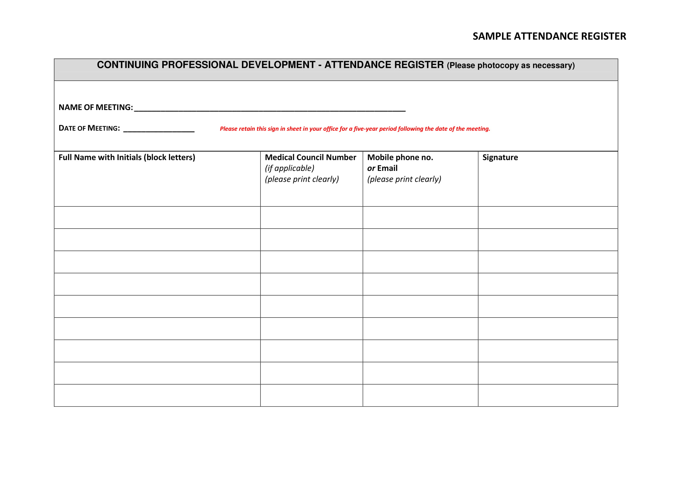 4 free attendance sheet templates small business resource portal.
