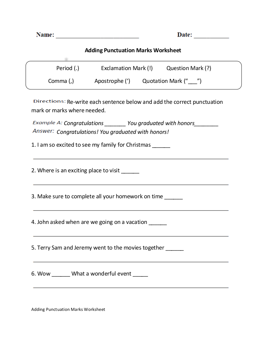 10 Punctuation Worksheet Examples in PDF | Examples
