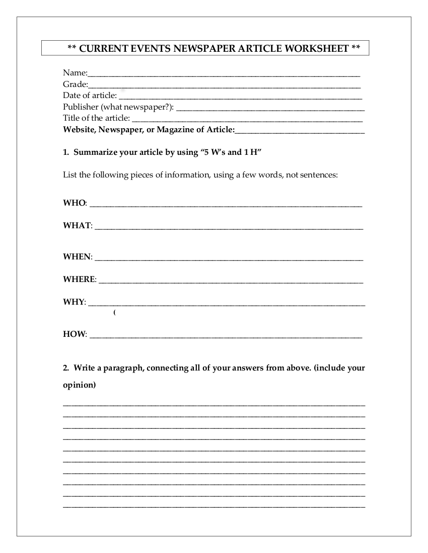 10 Newspaper Worksheet Examples In Pdf
