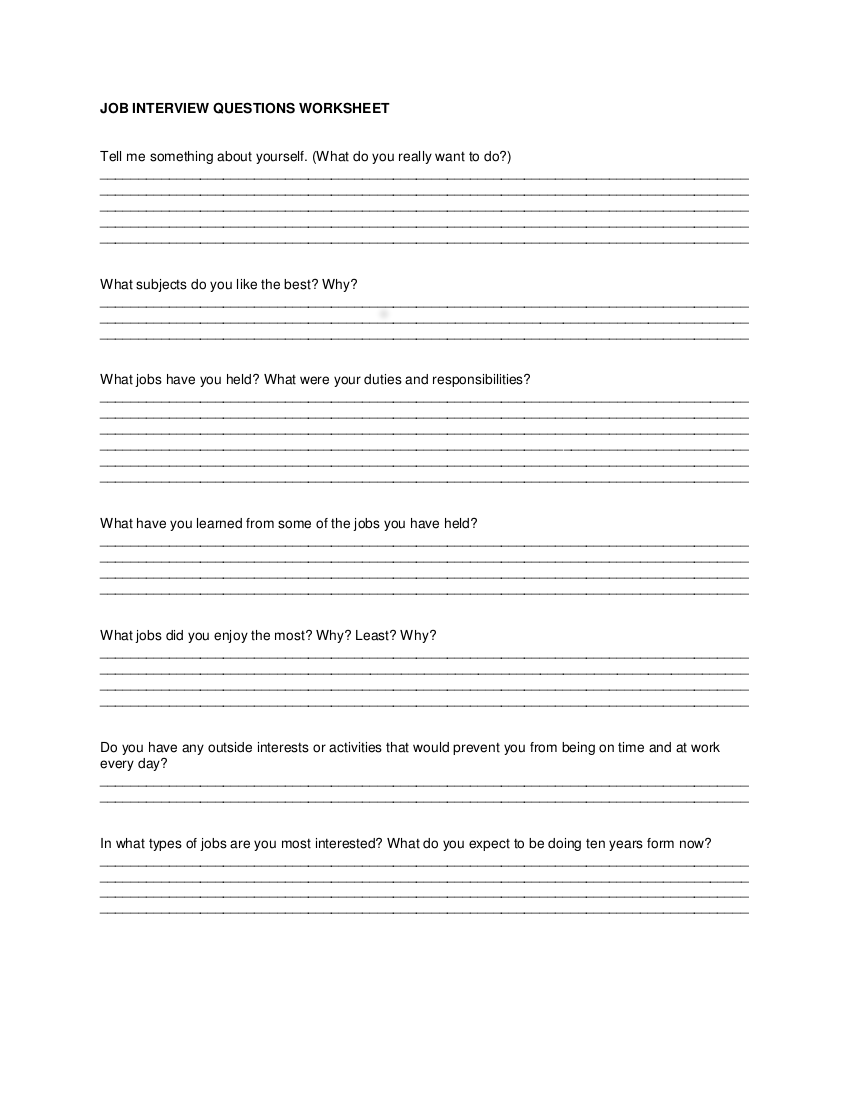 Worksheets Job Interview Worksheets 4 interview worksheet examples in pdf job questions 4iw