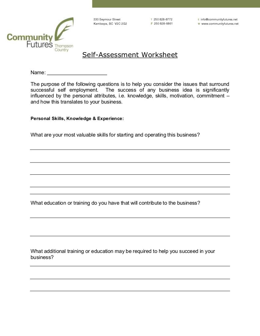 9 Self Assessment Worksheet Examples In Pdf Examples