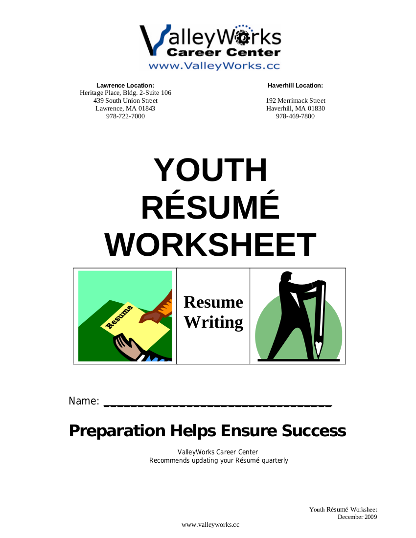 9+ Resume Worksheet Examples in PDF