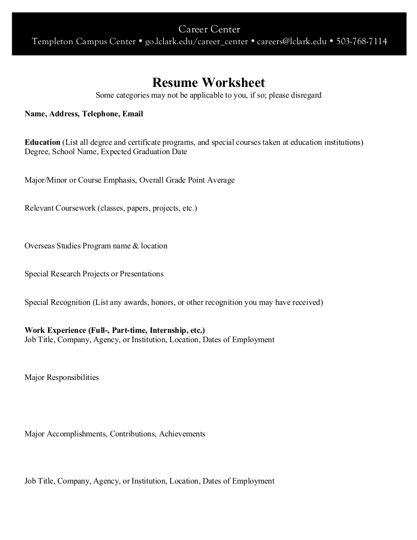 9 Resume Worksheet Examples In Pdf