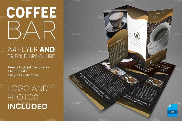 a4 coffee tri fold brochure and flyer