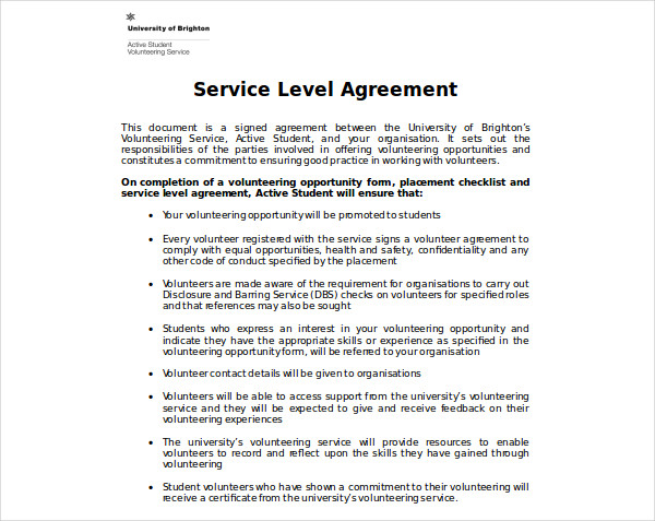 active student service level agreement