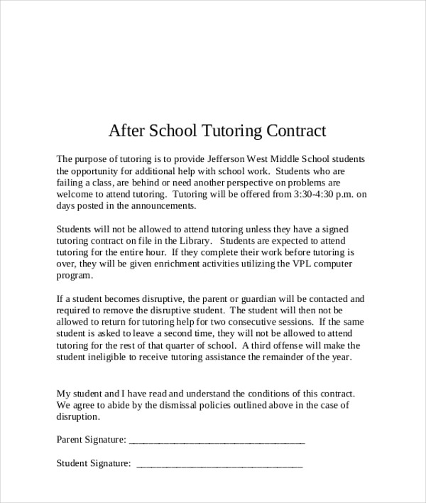after school tutoring contract