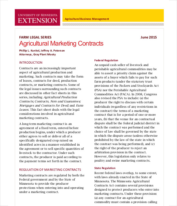 agricultural marketing contract