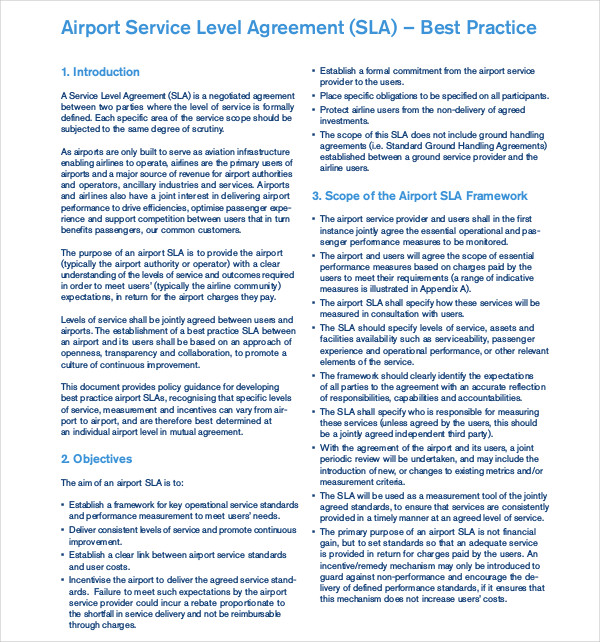 23  Service Level Agreement Examples In Pdf