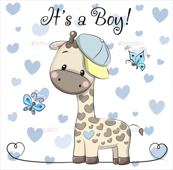 baby shower greeting card with giraffe boy