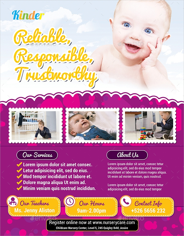 babysitting and daycare simple flyers