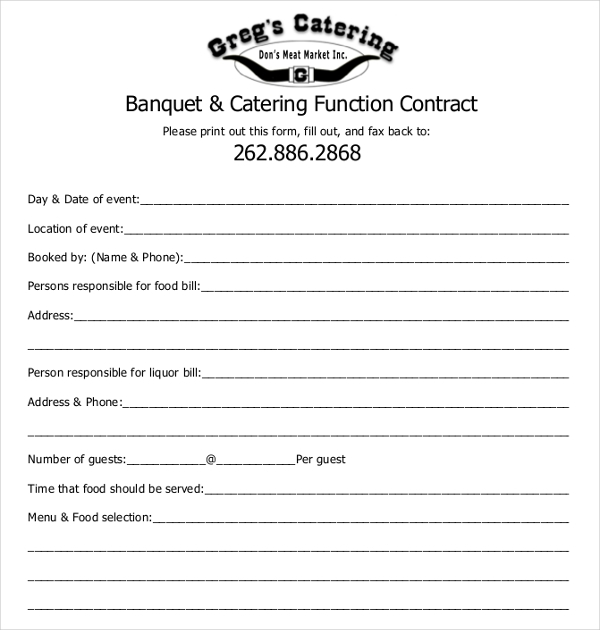 banquet and catering function contract