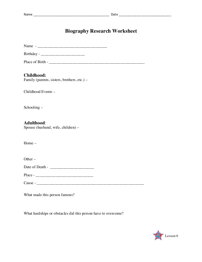 biography research worksheet