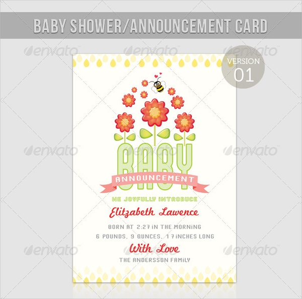 boy or girl baby shower or announcement greeting card